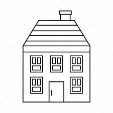 two storey house two storey house with chimney icon outline style u2014 stock vector