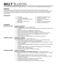 construction resume exles best construction labor resume exle livecareer