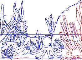 drawn coral reef ocean floor pencil and in color drawn coral