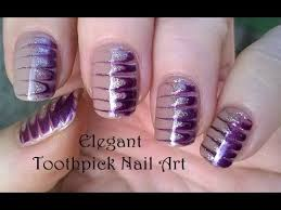 toothpick nail art 4 diy elegant melted nails in gold u0026 purple