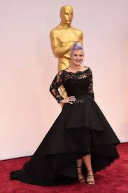 kelly osbourne vintage black lace and satin high low prom dress