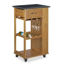 kitchen cart and island relaxdays alfred kitchen cart island trolley with wine glass holder