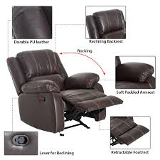 homcom pu leather rocking sofa chair recliner homcom single recliner padded sofa pu rocking chair furniture w