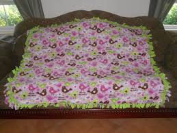 love birds on light pink lime green back fleece tie blanket no