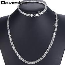 white gold necklace set images Davieslee jewelry set snail link men 39 s women 39 s necklace bracelet jpg