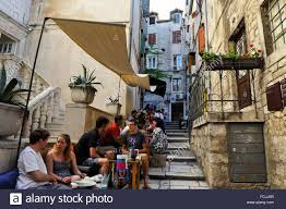 which side does st go on out side cafe fluid dosud 1 street old town split croatia stock