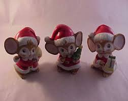 Christmas Mice Decorations Vintage 1960s 1970s Set Of Ceramic Christmas Mice Figurines
