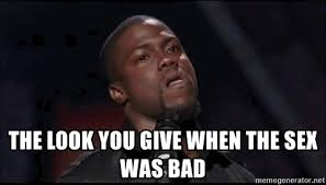 Bad Sex Meme - the look you give when the sex was bad kevin hart playoffs meme