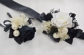 black and white corsage boutonniere wrist corsage set bwc18 black white endura flora