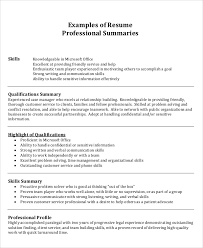 sample summary for resume 8 examples in word pdf