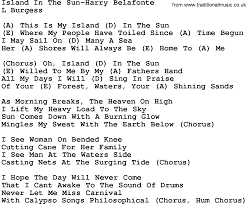country island in the sun harry belafonte lyrics and chords