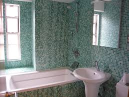 gorgeous turquoise mosaic tiles bathroom design combined white