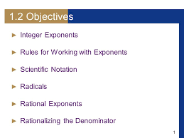 working with scientific notation 1 1 2 objectives integer exponents for working with