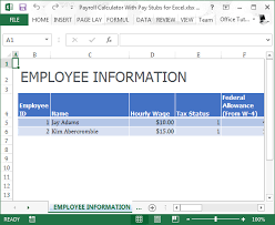 Excel Payment Calculator Template Payroll Calculator With Pay Stubs For Excel