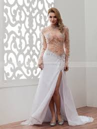 poni two tone long sleeved evening dress with beaded bodice and
