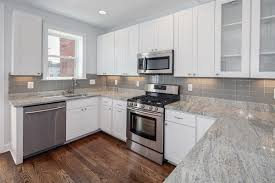 Grey Wood Floors Kitchen by Grey Kitchen Cabinets With White Appliances White Spray Paint Wood