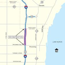 Michigan County Map With Roads by Som I 75 Weekend Lane Closures Continue In Bay County