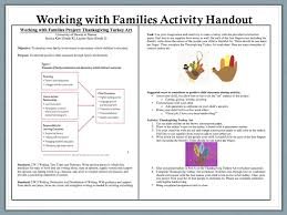 working with families project thanksgiving turkey of