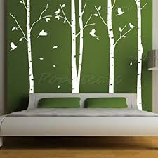 set of 4 big birch trees in white 8 5 ft nursery wall