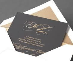 vera wang wedding invitations vera wang pewter wedding invitation with a gold monogram available