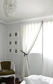 Curtains With Pom Pom Trim White Curtains With Black Pom Pom Fringe Transitional Bedroom