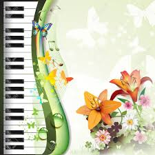 piano with lilies and butterflies royalty free cliparts