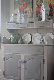 two toned distressed hutch server created with homemade chalk