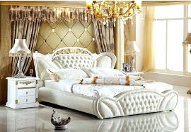 nice double bed bedroom sets genuine leather bed elegant style
