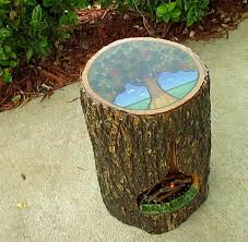 a tree stump side table with a fireplace royal