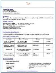 cv format for freshers mca documents professional curriculum vitae resume template sle template of