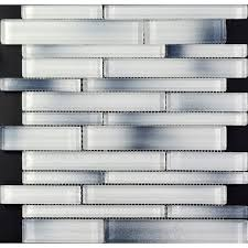 Mosaic Tile Backsplash Interlocking Crystal Glass Tiles White - Glass and metal tile backsplash