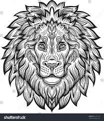 detailed lion aztec filigree line art stock vector 441871135
