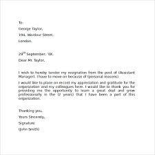 resignation letters format resignation letter format with notice