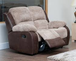 Beige Fabric Sofa 2 Seater Reclining Fabric Sofa Beige