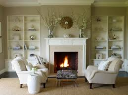 Simple Fireplace Designs by Soft Brown Living Room Shows Neutral Seating Area Set In Front Of