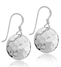 silver earring tuscany silver sterling silver hammered drop earrings