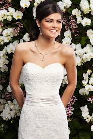 sweetheart ruched waist lace fit and flare sincerity bridal gown
