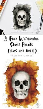 3 free watercolor skull prints bonus print designs