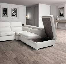 Sectional Sofa With Storage Estro Salotti Vertigo Modern White Leather Sectional Sofa W Storage