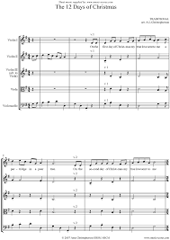 the 12 days of christmas string quartet sheet music by christmas