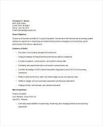 Sample Financial Controller Resume by Finance Resume Examples 28 Word Pdf Documents Download Free