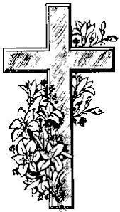 cross with flowers ink and