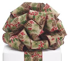 christmas wired ribbon 40 pine cone berry linen wired ribbon