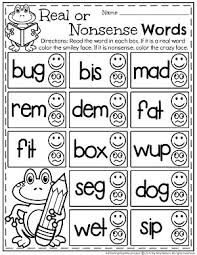 real or nonsense words worksheets planning playtime