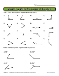 working with congruent angles 8th grade geometry worksheets