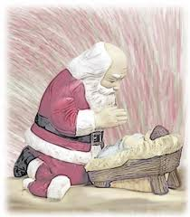 santa and baby jesus kneeling santa clipart clipart collection baby christmas