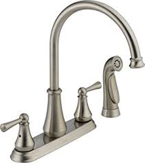 kitchen faucet amazon delta 21902lf ss lewiston two handle kitchen faucet with spray