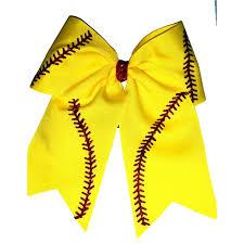 softball hair bows yellow softball threads hair bow