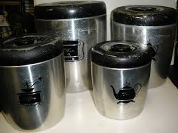 Black Canister Sets For Kitchen Vtg Mid Century West Bend 4 Piece Kitchen Canister Set Silver