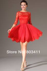 red lace cocktail dress with sleeves